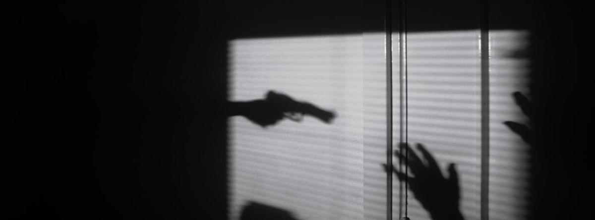skygge af pistol og hånd