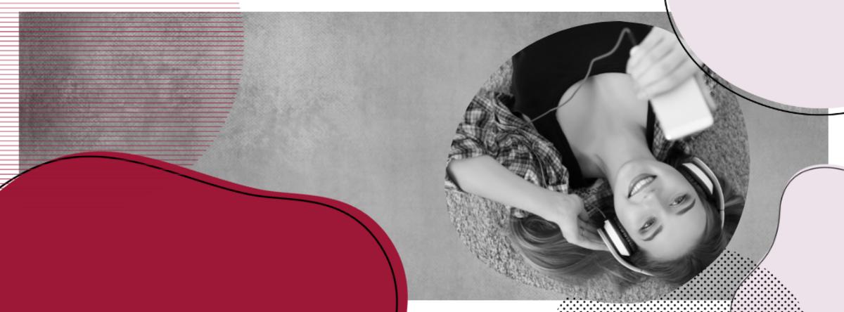 Grafik med kvinde, der lytter til lydbog