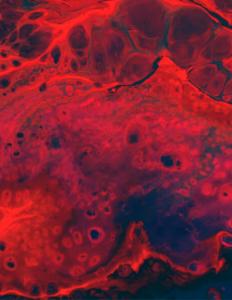 Abstrakt billede i rød og blå